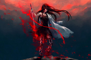 Anime Girl Katana Warrior With Sword Wallpaper
