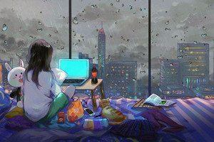 Anime Girl Room City Cat Wallpaper