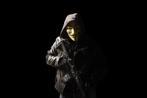 Anonymous Mask Person With Gun 5k Wallpaper