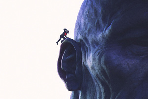 Antman Goes Into Ear Of Thanos Artwork