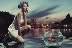 Aquarium Near Sea Shore Girl Creative Art