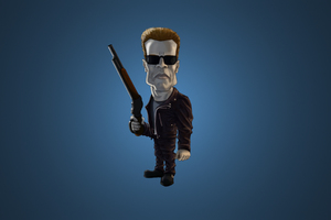 Arnold Schwarzenegger Terminator Cartoon Shotgun