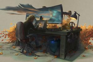 Artist Workspace Wallpaper