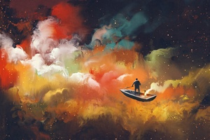 Artistic Cloud Boat Outer Space Floating 4k Wallpaper