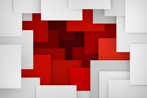 Artistic Geometry Red White Wallpaper