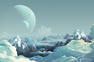 Artwork Illustration Mountains Sky Digital Art Wallpaper