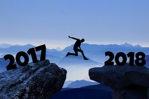 Artwork Of 2017 Year Man Jumping Into 2018