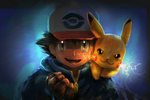 Ash And Pikachu Artwork Wallpaper