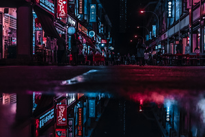 Asia Neon City Lights Reflections Wallpaper