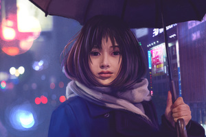 Asian Girl Umbrella Hd