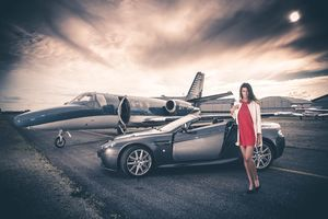 Aston Martin And Jet Model Photoshoot