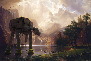 AT AT Walker Star Wars Artwork Wallpaper