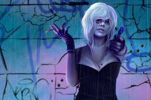 Atomic Blonde Smoke And Shoot Wallpaper
