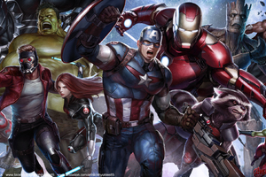Avengers And Guardians Together Artwork Wallpaper