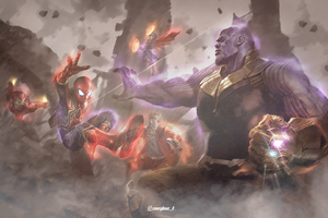 Avengers Fighting With Thanos