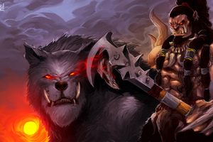 Axe Orc Warcraft Warrior Wolf
