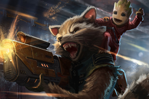 Baby Groot And Rocket Raccoon Artwork Wallpaper