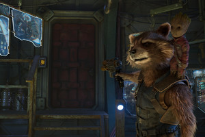 Baby Groot And Rocket Raccoon In Guardians of the Galaxy Vol 2 Wallpaper
