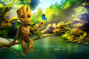 Baby Groot Artwork Wallpaper