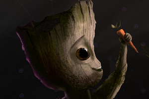 Baby Groot Carrot Artwork Wallpaper