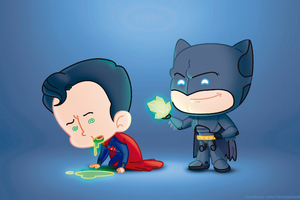 Batman And Superman Fat Heads