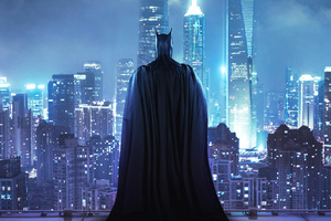 Batman Standing On The Rooftop Wallpaper
