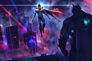 Batman Vs Superman Neon Lights Artwork