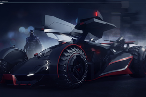 Batman With Batmobile Artwork