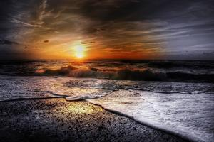 Beach Summer Sunset Waves Wallpaper