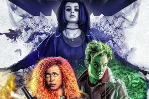 Beast Boy Raven And Starfire In Titans 2018 Wallpaper