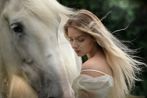 Beautiful Girl With Horse Wallpaper