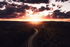 Beautiful Road Path Sun Setting Drone View 4k Wallpaper