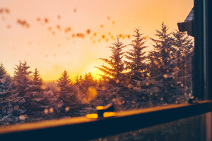 Beautiful Winter View From Window 5k Wallpaper