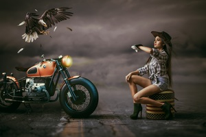 Beautiful Woman Cowgirl Hat Alongside With Bmw Bike Eagle Wallpaper
