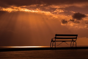 Bench Sunset Dusk Clouds Wallpaper