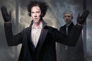 Benedict Cumberbatch And Martin Freeman Sherlock Artwork