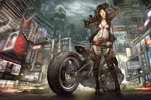 Biker Girl Art Wallpaper