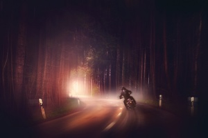 Biker In Woods Dark Road Digital Art Wallpaper