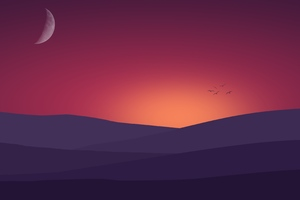 Birds Flying Towards Sunset Landscape Minimalist 4k Wallpaper