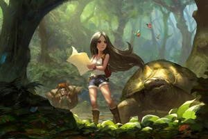 Black Hair Exploration Forest Girl Wallpaper