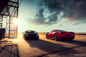 Black Lamborghini Huracan And Ferrari 458 Red Wallpaper