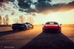 Black Lamborghini Huracan And Red Ferrari 458 Wallpaper