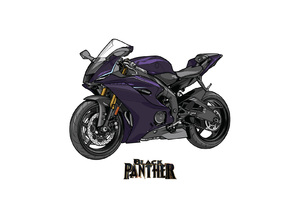 Black Panther Marvel Yamaha R6 Crossover Wallpaper