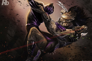 Black Panther Vs Predator Illustration Wallpaper