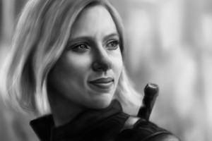 Black Widow In Avengers Infinity War 2018 Artwork Monochrome