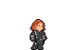 Black Widow Pixel Art Wallpaper
