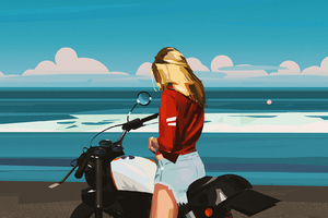 Blonde Biker Girl Minimal Art Wallpaper