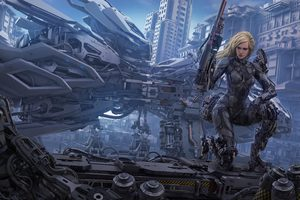 Blonde Cyborg Futuristic Girl Wallpaper