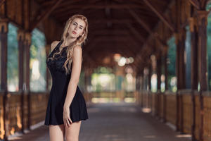 Blonde Girl In Black Dress Wallpaper