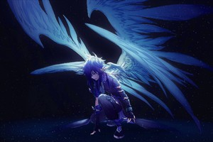 Blue Angel With Wings Anime Wallpaper
